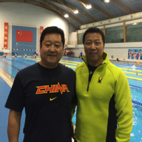 刘海涛, 中国国家游泳队教练,弟子焦刘洋获伦敦奥运冠军。  Liu hai tao, Chinese national swimming team coach, his swimmer is Jiao liu yang.